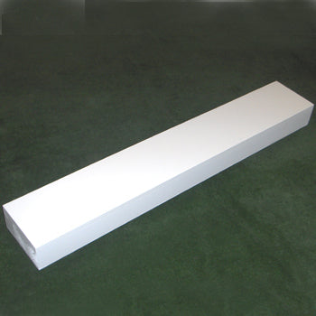 solid timber board painted white for inserting into the ground as a take-off board
