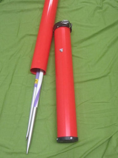 Hard red tubular carry case for up to 4 javelins.