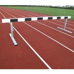 Steeplechase hurdle with steel base and solid timber top.  Painted with black and white stripes