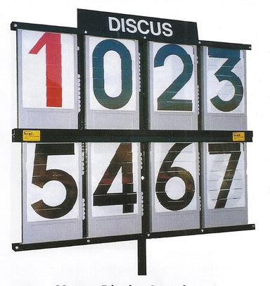 Black metal stand with eight shuttered number boards for field event display and scoring