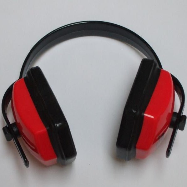 Red and black ear defenders with adjustable size and soft pads