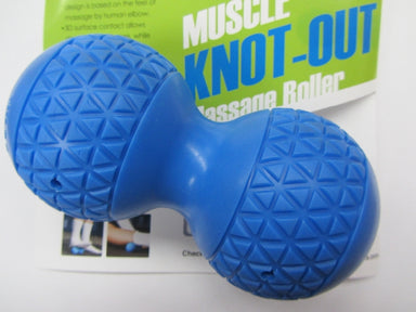 peanut-shaped blue foam roller for massage