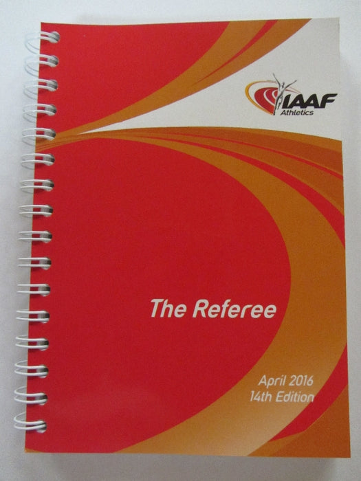 IAAF spiral bound book with a red, gold and white cover.  The Referee