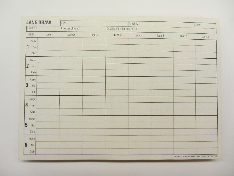 Pad of pressure copy paper for lane draws in track events.  150 sheets, A5
