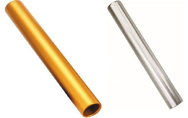 Aluminium relay batons in either gold or silver