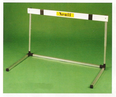 Hurdle with a white cross bar and metal legs.  Height adjustment by buttons.  Neuff brand