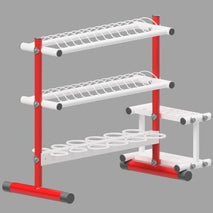 Red and white painted stand with capacity to hold 12 javelins, 24 discus and 12 shot.  Includes a galvanised handle and wheels to allow the trolley to be stored away from the throwing area.