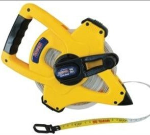 Open tape measure with white tape, a yellow plastic opoen-style case and geared winding handle