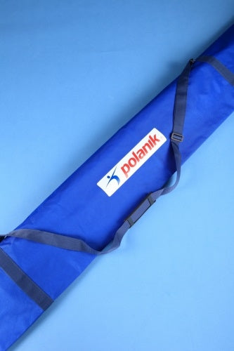 Blue bag for vaulting poles in a tough fabric.  With black carrying strao and 'Polanik' label.