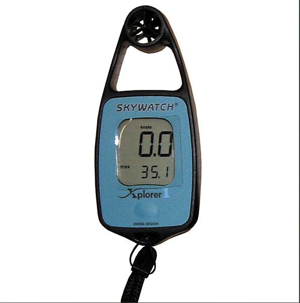 Handheld black plastic device with a digital screen and a windmeter incorporated above.  Explorer Skywatch brand.  With a toggle or neckband.
