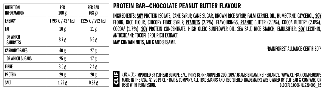Clif Builder protein bar nutrition information: chocolate peanut butter flavour