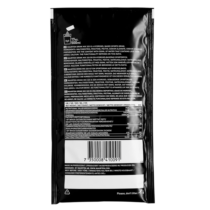 Maurten Drink Mix 320 Hydrogel Sports Fuel - back of sachet