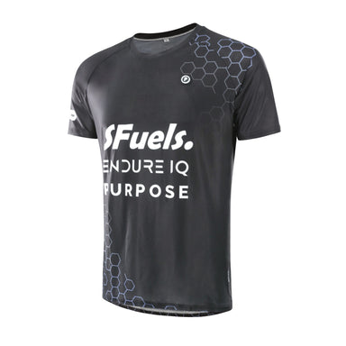 Purpose SFuels EndureIQ racing T-shirt for hot weather.  Side view. Black