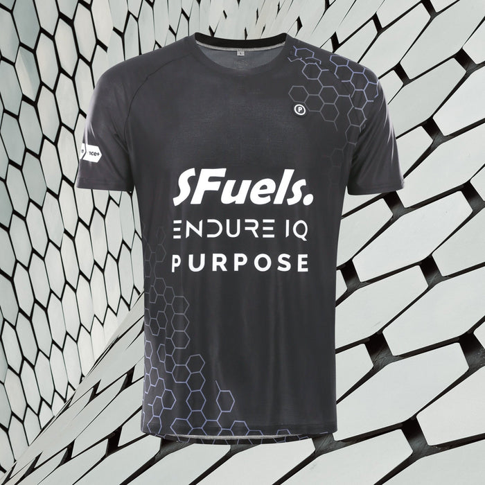 Purpose SFuels EndureIQ racing T-shirt for hot weather.  Front view with background. Black