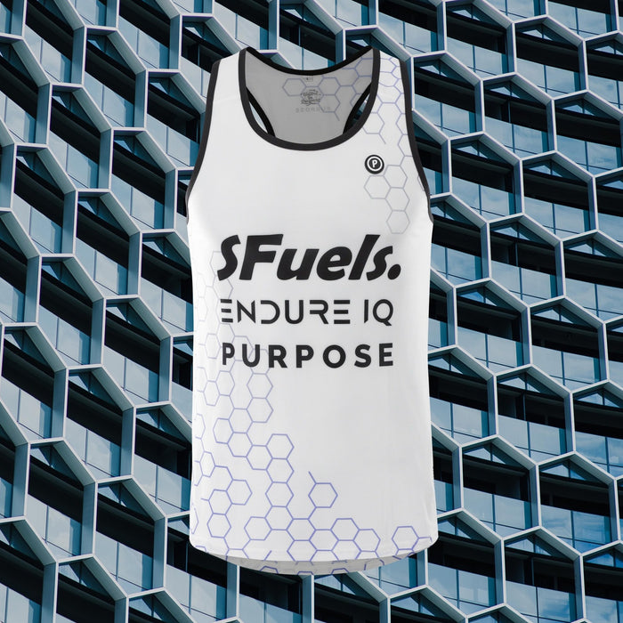 Purpose SFuels EndureIQ racing singlet for hot weather.  Front view with background