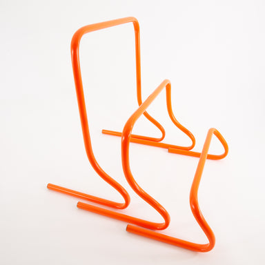 Set of 3 speed agility hurdles of different heights: 6 inches, 12 inches, 20 inches.  Orange powder-coated metal