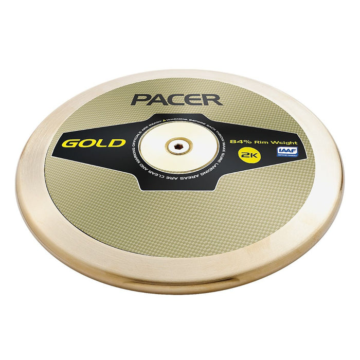 Pacer Gold discus. Gold plastic plates, bronze alloy rim top club high spin discus