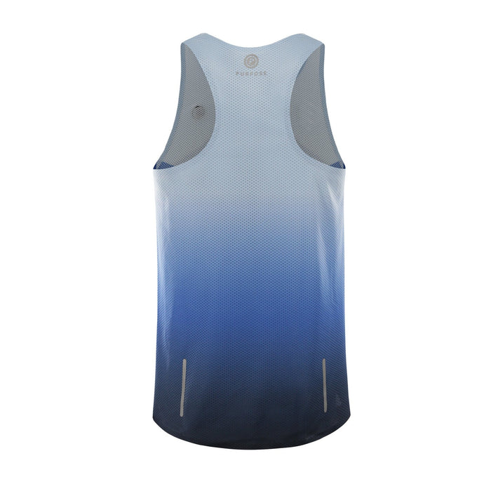 Purpose Pro Racerback Men's running vest for hot weather.  Transcend blue.  Back view