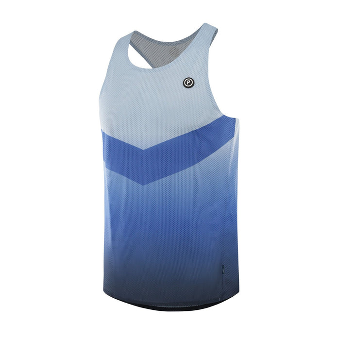 Purpose Pro Racerback Men's running vest for hot weather.  Transcend blue. Side view
