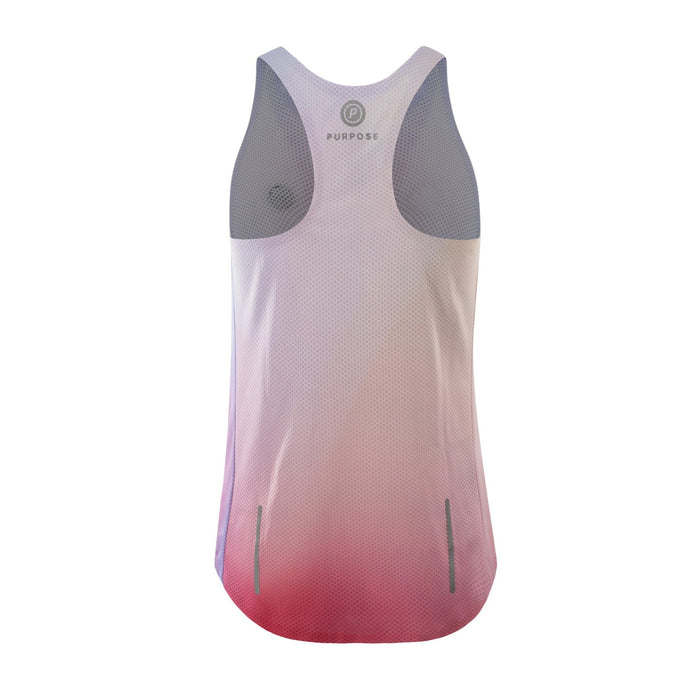 Purpose Pro Racerback Women's running vest for hot weather.  Joy Pink.  Back View