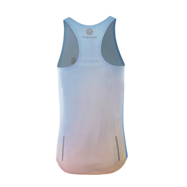 Purpose Pro Racerback Women's running vest for hot weather.  Tranquility Blue.  Back View