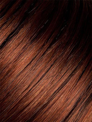 Color Auburn-Rooted = Dark Auburn, Bright Copper Red, and Warm Medium Brown blend with Dark Roots
