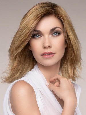 INSPIRE by ELLEN WILLE in LIGHT BERNSTEIN ROOTED | Light Auburn, Light Honey Blonde, and Light Reddish Brown blend and Dark Roots