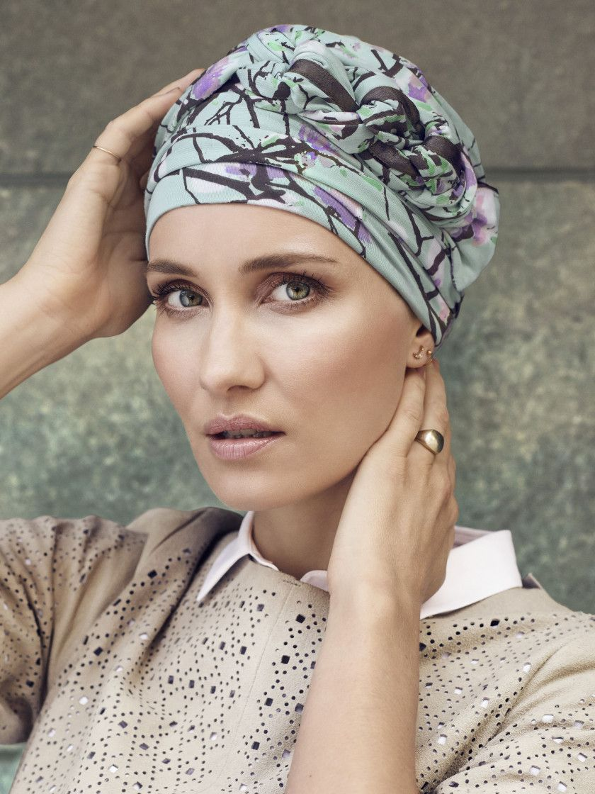 CHRISTINE HEADWEAR AZURE PRINTED TURBAN
