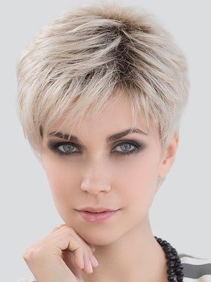 LOVE COMFORT by ELLEN WILLE in LIGHT CHAMPAGNE ROOTED | Light Beige Blonde, Medium Honey Blonde, and Platinum Blonde blend with Dark Roots