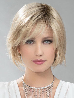 RULE by ELLEN WILLE in CHAMPAGNE TONED 22.16.25 | Med Beige Blonde,  Medium Honey Blonde, and lightest Blonde blend, with light root (Bangs customized for photo shoot)
