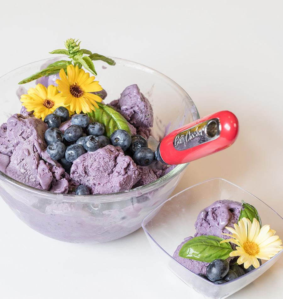 Blueberry and Basil Ice Cream