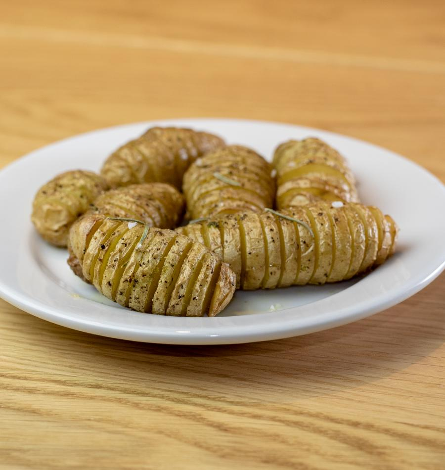 Hasselback Fingerling Potatoes with Rosemary Emulsion