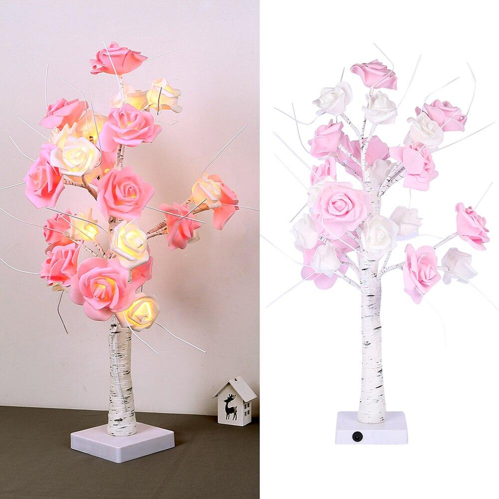 LED Rose Flower Tree Light 24LED USB / Battery (White)