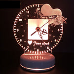Romantic Heart Love 3D led Night Light Time Clock