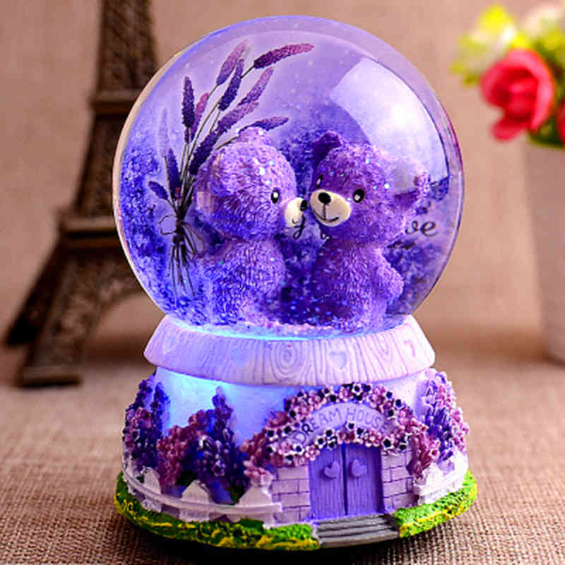 Lavender Purple Bear Lover in Crystal Snow with Music Boxes