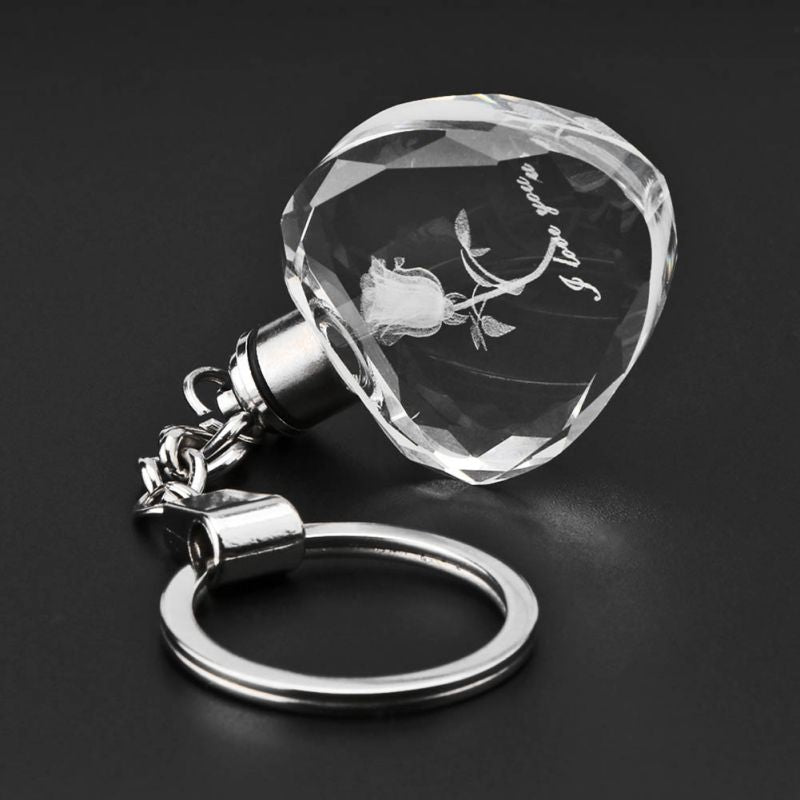 Luminous Crystal Rose Flower LED Light Keychain