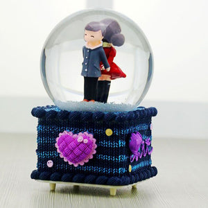 Colorful Lights Music Box With Couple Figurine In Crystal
