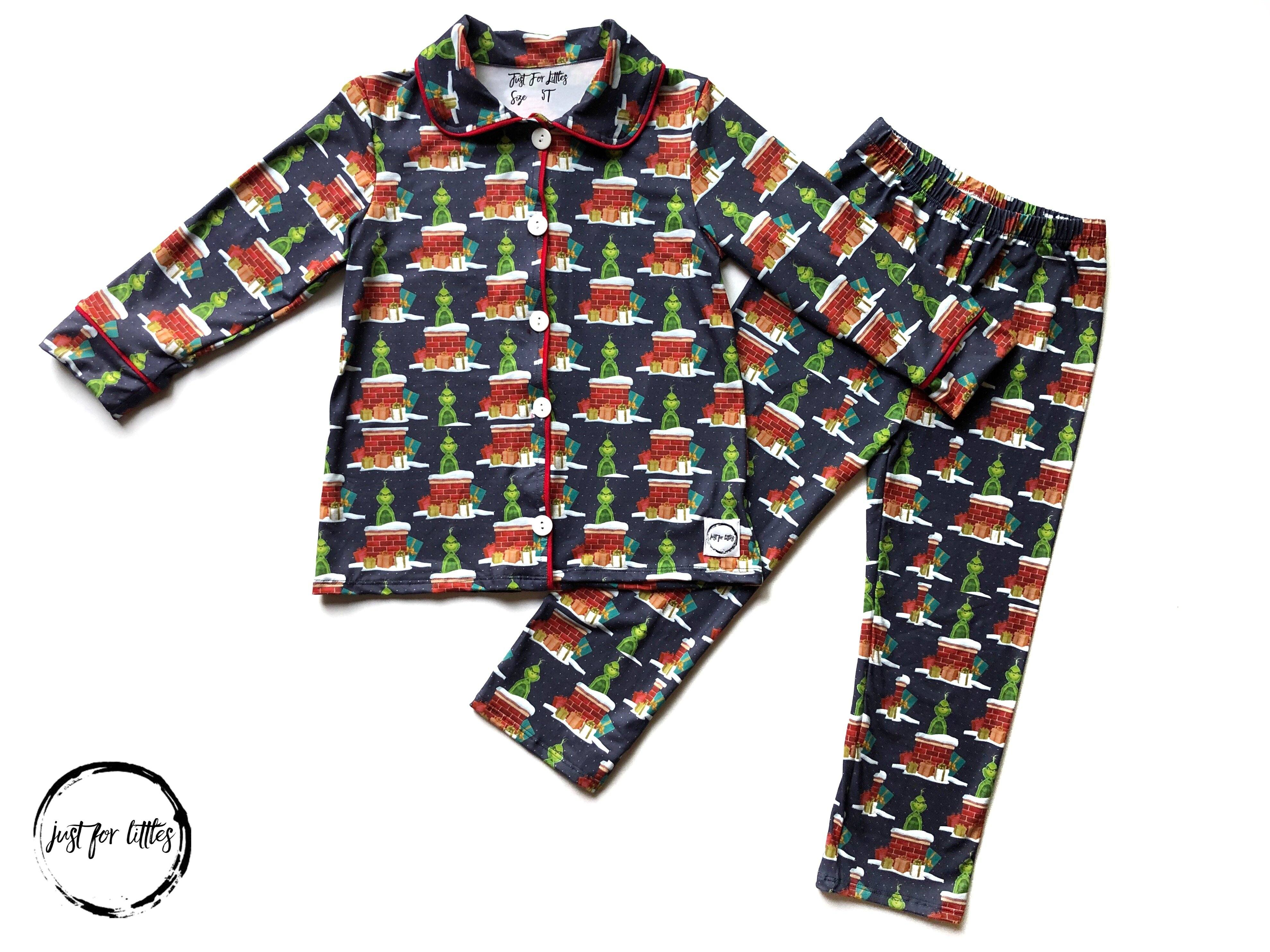 #5 Grinch Button front front pajama Pajamas Just For Littles™