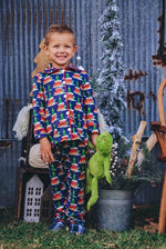 Load image into Gallery viewer, #5 Grinch Button front front pajama Pajamas Just For Littles™