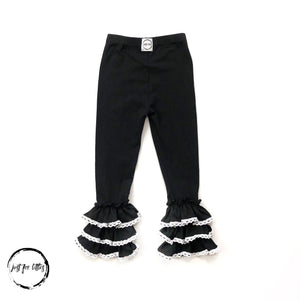 #91 Black Lace Trim Ruffle Leggings Bottoms Just For Littles™