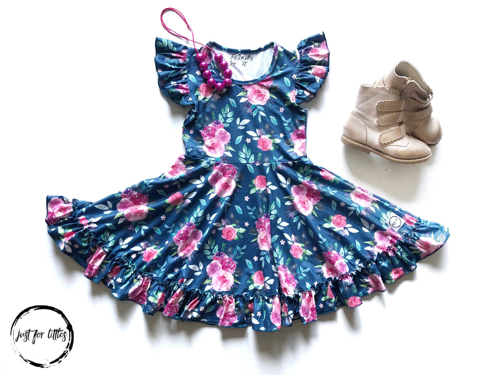 AAA Blue-Green Floral Twirl Dress Just For Littles