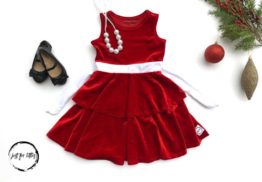 AAA Santa Baby Velvet Twirl Dress Dress Just For Littles