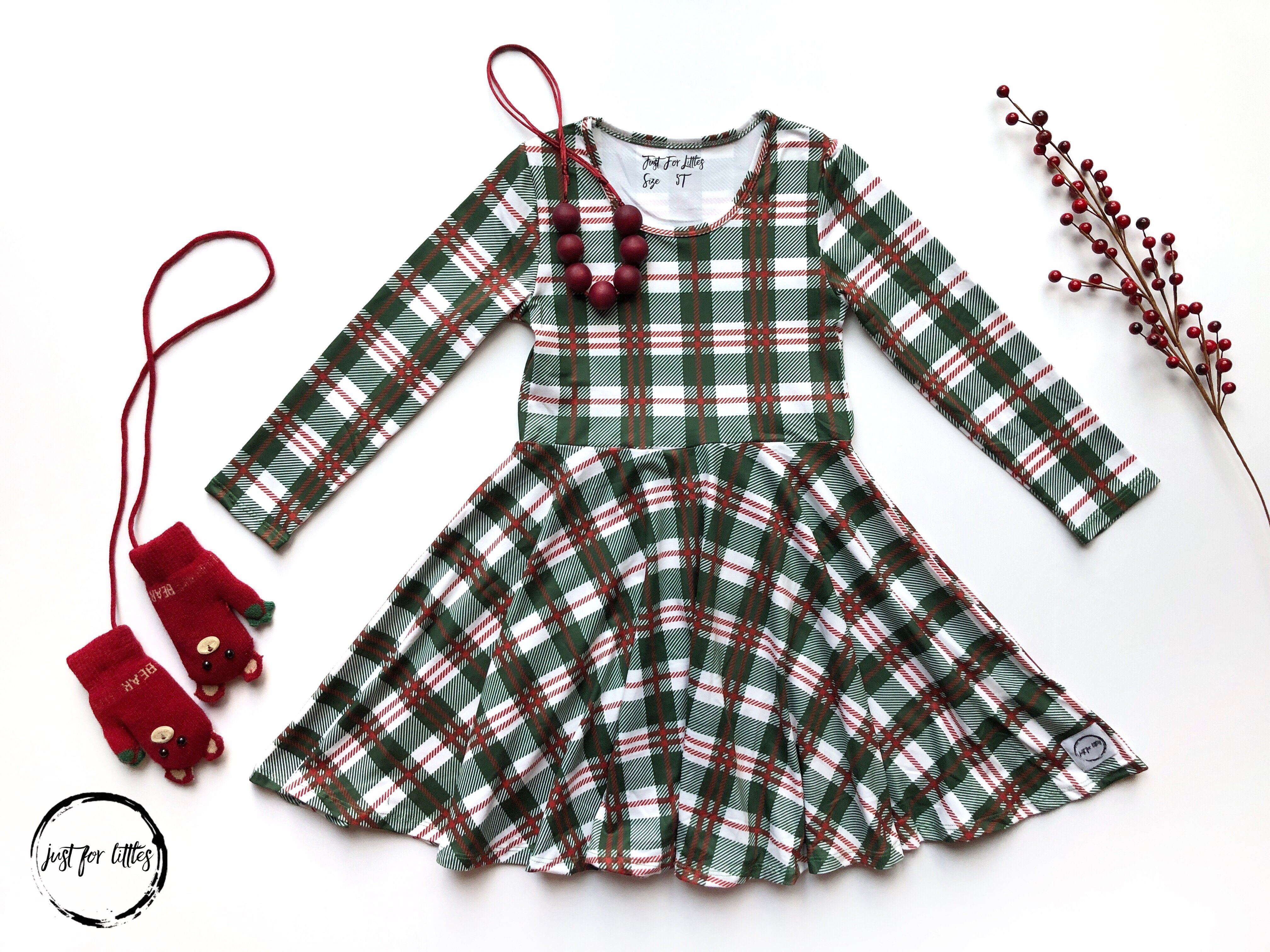 AAAA Green xmas plaid Dress Just For Littles