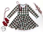 Load image into Gallery viewer, AAAA Green xmas plaid Dress Just For Littles