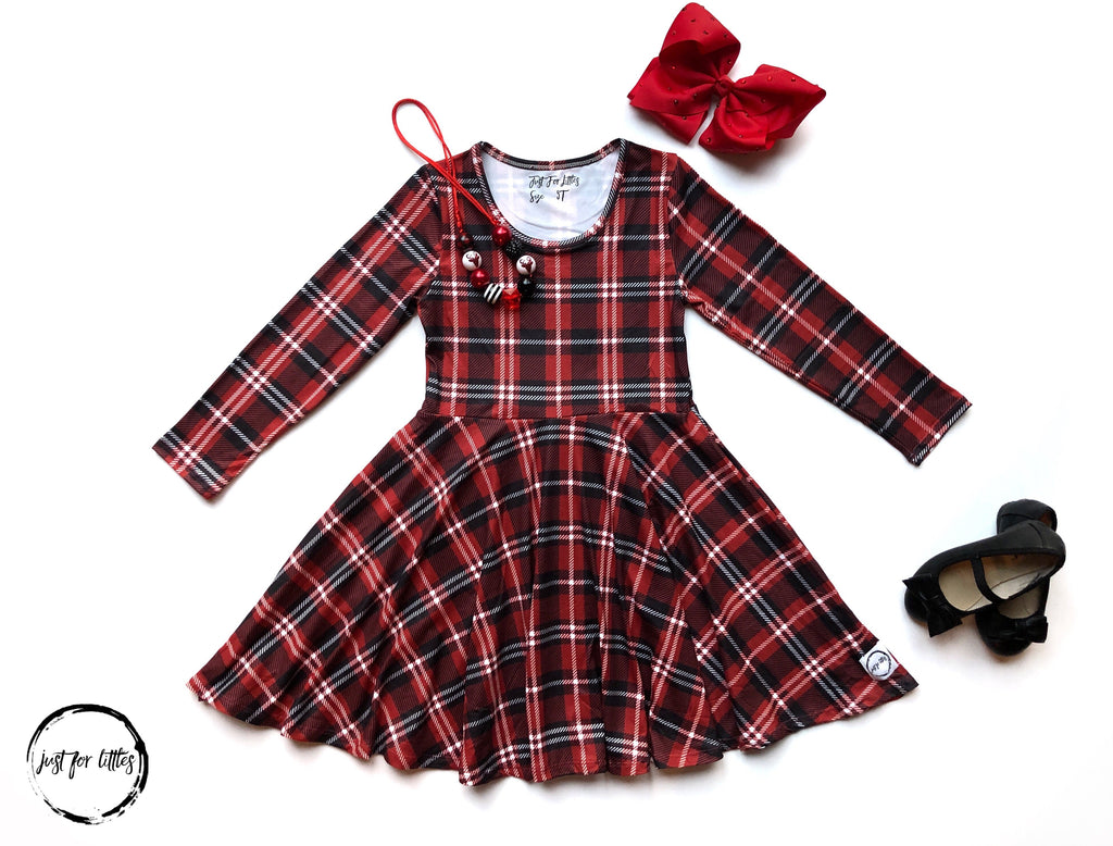 AAAA Red Xmas Plaid Dress Just For Littles