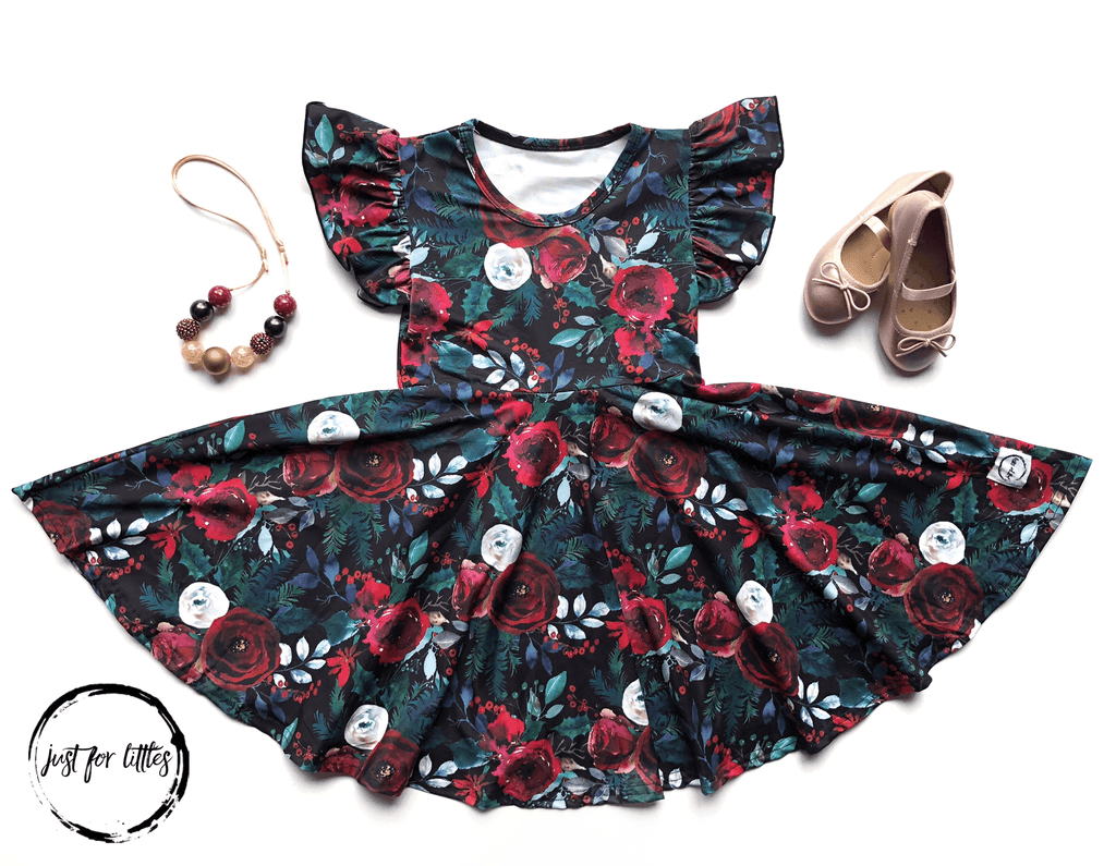 Black Floral Twirl Dress Just For Littles