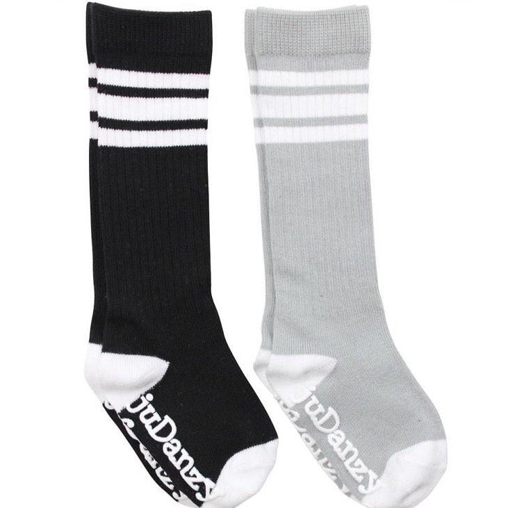 Black & Grey with White Stripes Tube Socks accessories juDanzy