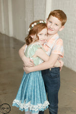 Load image into Gallery viewer, Blue Lace Twirl Dress Just For Littles