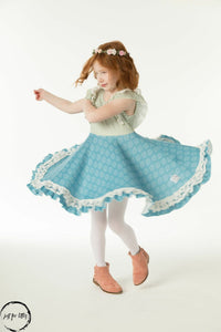Blue Lace Twirl Dress Just For Littles