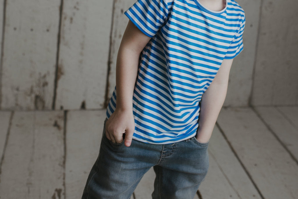 Blue Stripe T-shirt Shirt Just For Littles